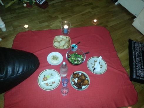 Indoor festive picnic