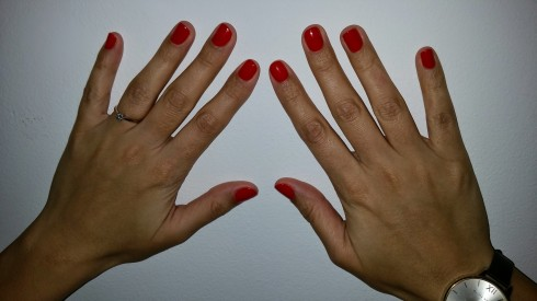 Shiny red nails
